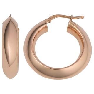 Oro Rosa 18k Rose Gold over Bronze Italian Knife Edge Hoop Earrings