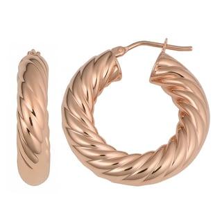 Oro Rosa 18K Rose Goldplated Bronze Twisted Hoop Earrings