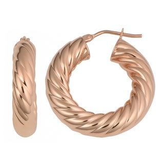 Oro Rosa 18K Rose Gold Over Bronze 6x16-mm Italian Twisted Hoop Earrings
