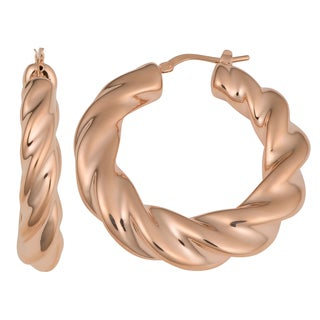 Oro Rosa 18k Rose Gold over Bronze Italian High Polished Finish Twisted Hoop Earrings