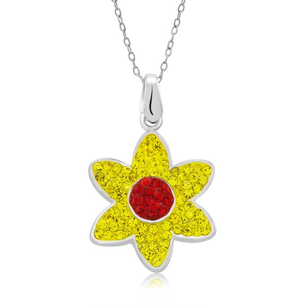 Platinum-plated Crystal Flower Pendant Necklace
