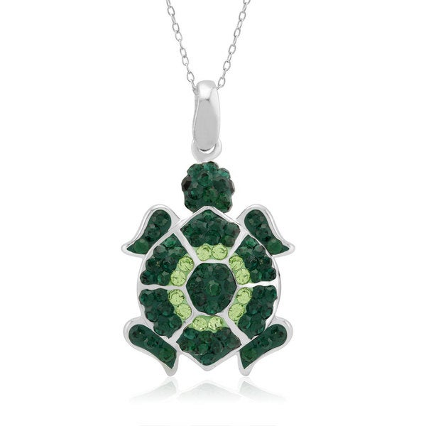 Platinum-plated Crystal Tortoise Pendant Necklace