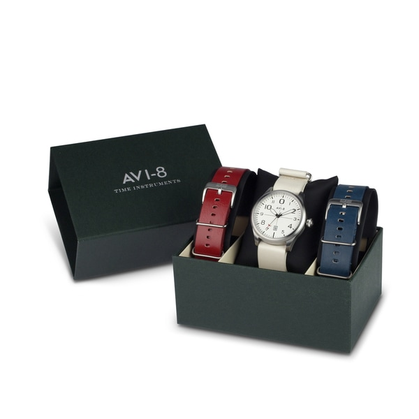 AVI-8 Flyboy Men's Watch Box Set with 2 Additional Straps