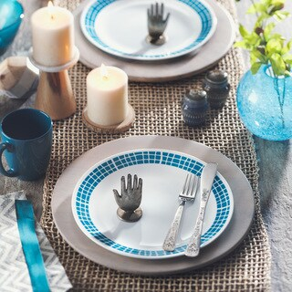 Corelle Livingware Aqua Tiles 16-piece Dinnerware Set