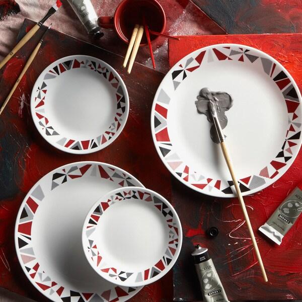 Corelle Livingware 16-piece Set Mosaic Red 15043322