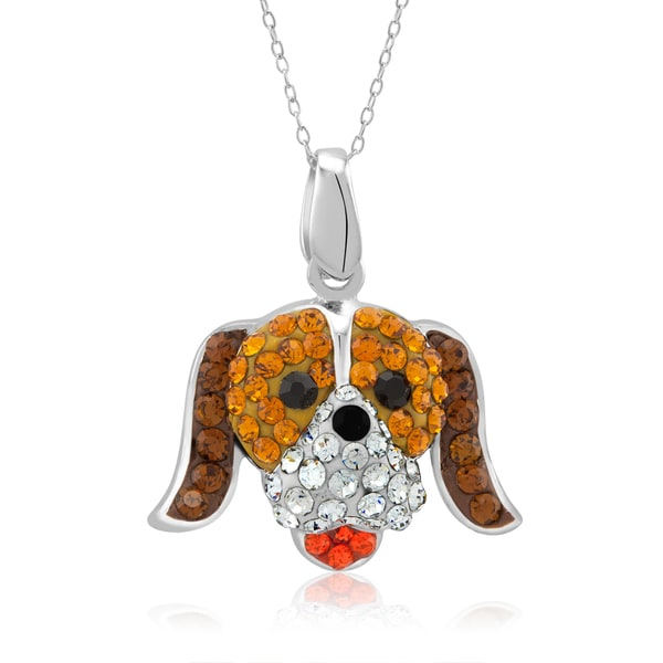 Platinum-plated Crystal Puppy Face Pendant Necklace