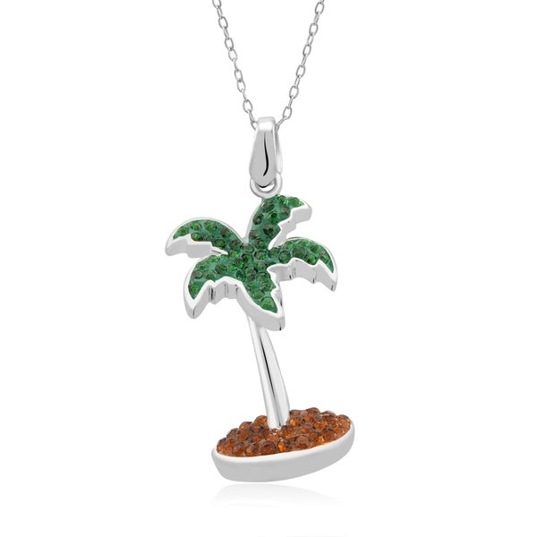 Platinum-plated Crystal Palm Tree Pendant Necklace