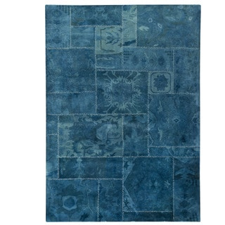 Indian Hand-tufted Sara Turquoise New Zealand Wool Rug (6'6 x 9'6)