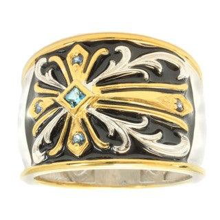 Michael Valitutti Gold Overlay Men's Black Enamel and Blue Topaz Ring