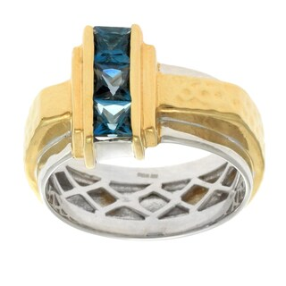 Michael Valitutti Gold over Silver Men's London Blue Topaz Textured Ring