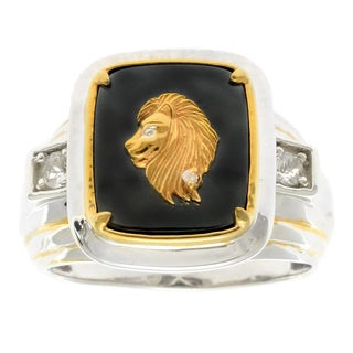 Michael Valitutti Gold over Silver Men's Hematite Diamond Accent Carved Lion Face Ring