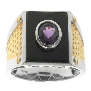 Michael Valitutti Gold over Silver Men's Black Onyx African Amethyst Ring