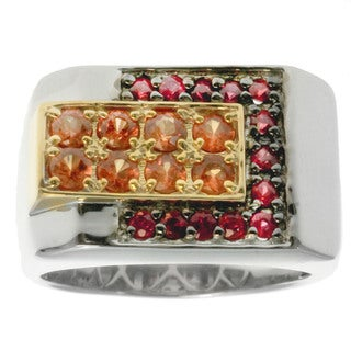 Michael Valitutti Silver Men's Blood Orange Sapphire Ring