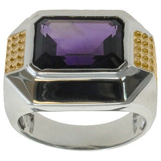Michael Valitutti 14k Yellow Gold Palladium Silver Amethyst Ring