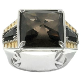 Michael Valitutti Gold over Silver Men's Smokey Quartz Black Spinel Ring