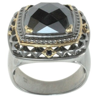 Michael Valitutti Palladium Silver Men's Hematite and Blue Sapphire Ring