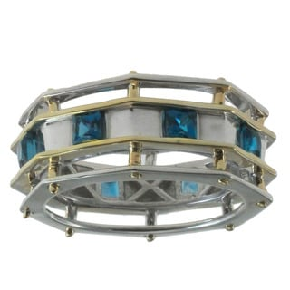Michael Valitutti Gold over Silver Men's London Blue Topaz Ring