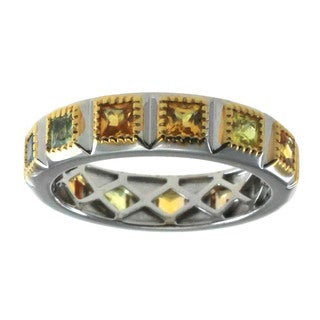 Michael Valitutti Gold over Silver Men's Princess Sapphire Ring