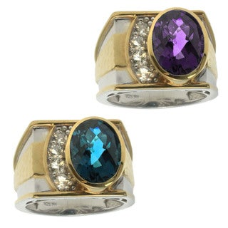 Michael Valitutti Gold over Silver Men's Gemstone and White Topaz Ring