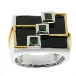 Michael Valitutti Gold over Silver Men's Black Onyx Chrome Diopside Ring