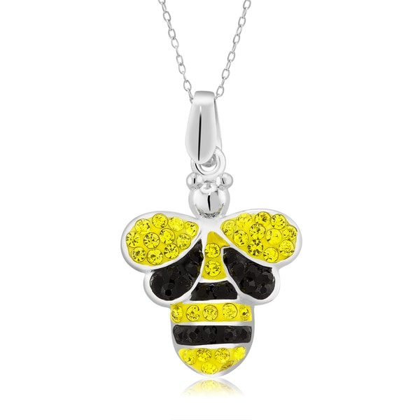 Platinum-plated Crystal Bumble Bee Pendant Necklace