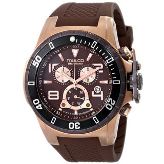 Mulco Men's MW129828035 'Blue Marine' Chronograph Brown Rubber Watch