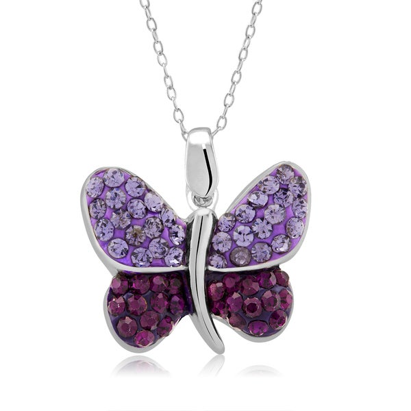 Platinum-plated Crystal Butterfly Pendant Necklace