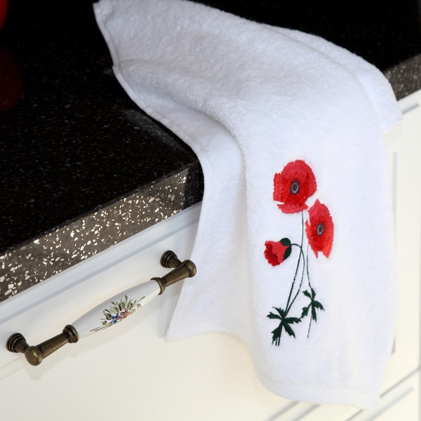 Authentic Hotel & Spa Soft Twist Turkish Cotton Hand Towel with Embroidered Red Poppy Flowers