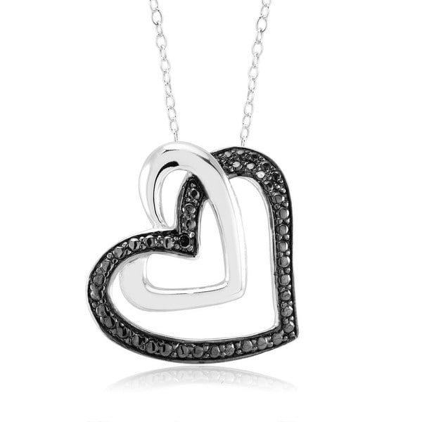 Rhodium-plated .10ct Diamond Accent Open Heart Pendant Necklace
