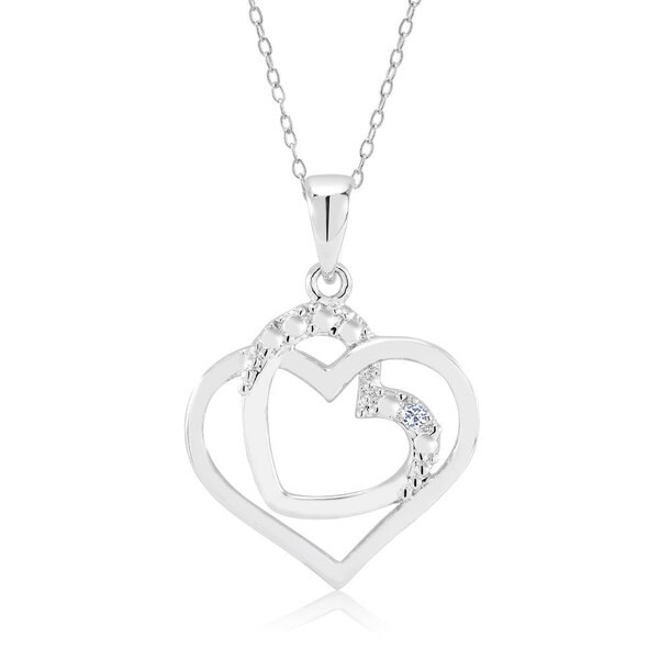 Rhodium-plated .10ct Diamond Accent Open Double Heart Pendant Necklace