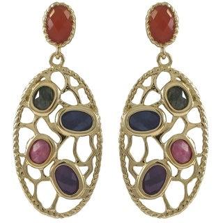 Goldtone Sterling Silver Semi-precious Gemstone Filigree Oval Earrings