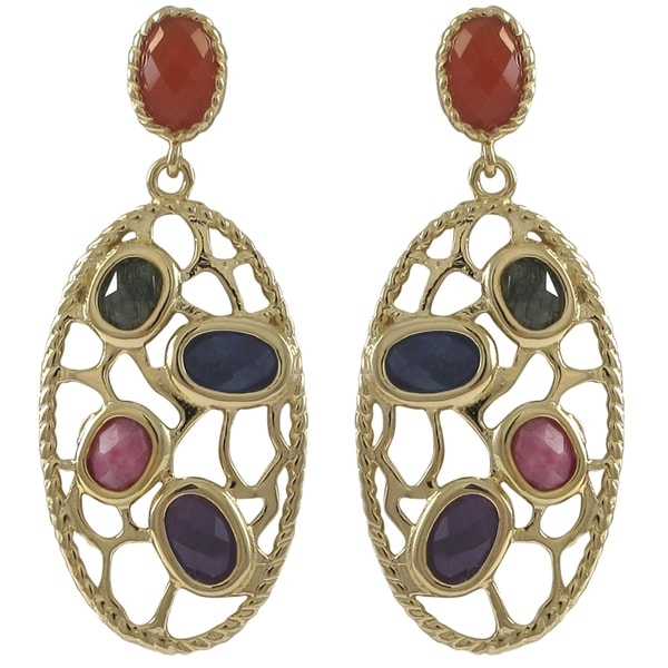 Goldtone Sterling Silver Semi-precious Gemstone Filigree Oval Earrings