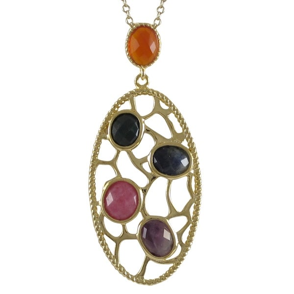 Goldtone Sterling Silver Semi-precious Gemstone Filigree Oval Necklace