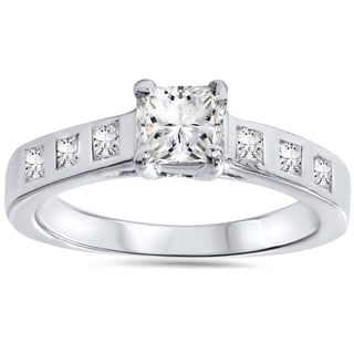 Bliss 14k White Gold 1ct TDW Diamond Princess-cut Engagement Ring (H-I, I1-I2)