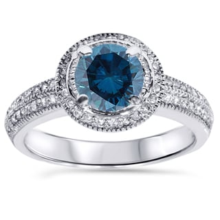 Bliss 14k White Gold 1 1/3ct TDW Blue and White Diamond Vintage Halo Engagement Ring (H-I, I2-I3)