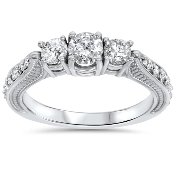 14k White Gold 1ct TDW Diamond 3 stone Vintage Engagement Ring I J I2 I3