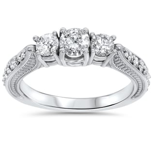 Bliss 14k White Gold 1ct TDW Diamond 3-stone Vintage Engagement Ring (H-I, I1-I2)