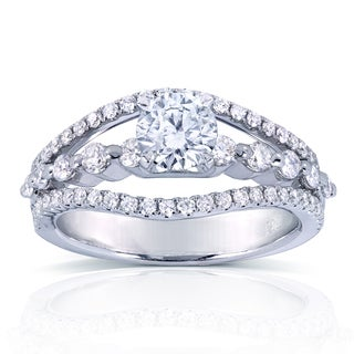 Annello 14k White Gold 1 1/6ct TDW 3-row Split Shank Diamond Engagement Ring (H-I, I1-I2)