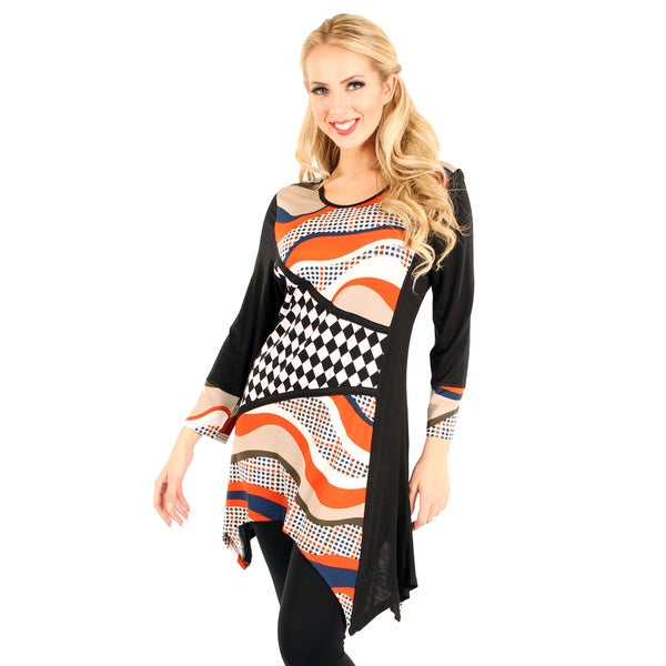 Firmiana Women's Black/ Multi Pattern Long Sleeve Top