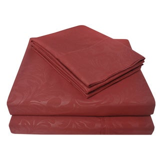 Luxor Treasures Impressions Heritage Wrinkle Resistant Ivy Embossed Sheet Set with Bonus Pillowcases