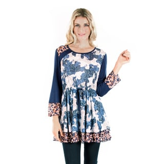 Firmiana Women's Long Sleeve Blue/ Multi Color Lace and Tie Waist Top
