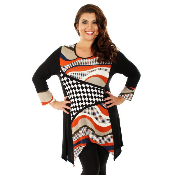 Firmiana Women's Plus Size Black/ Multi Stripe Long Sleeve Top