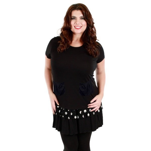 Firmiana Women's Plus Size Short Sleeve Black/ White Lace and Polka Dot Top
