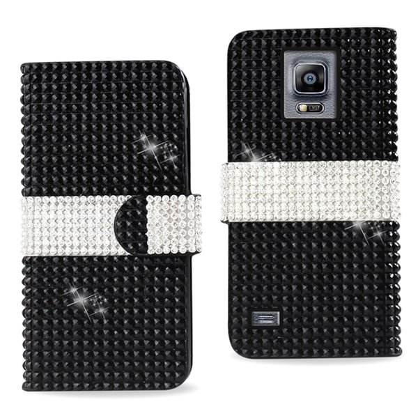 Reiko Black/ White Leather Diamond Bling Phone Case Cover with Stand/ Wallet Flap Pouch For Samsung Galaxy Note 4