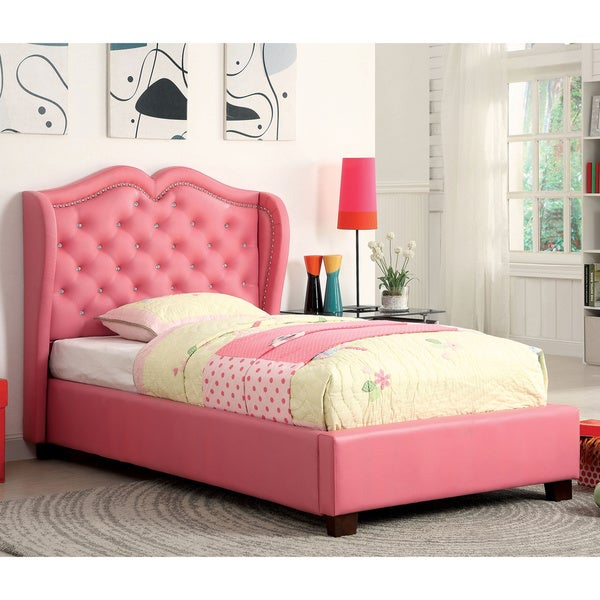 Twin storage bed with headboard - Furniture Of America Roselie Tufted Pink Leatherette