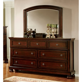 Furniture of America Barelle Cherry 2-Piece Dresser and Mirror Set