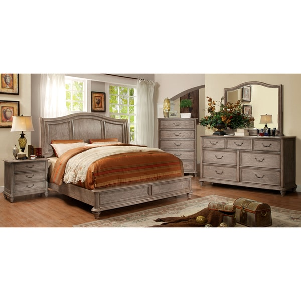 Furniture of america minka rustic grey 4 piece bedroom set for Double bedroom furniture sets