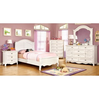 Furniture of America Evallina White 4-Piece Cottage Style Bedroom Set
