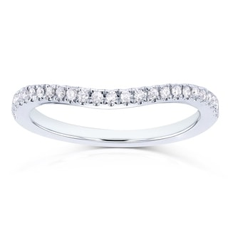 Annello 14k White Gold 1/8ct TDW Curved Diamond Wedding Band (H-I, I1-I2)
