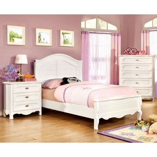 Furniture of America Evallina White 2-Piece Cottage Style Bed and Nightstand Set